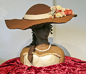 Chocolate sculpture lady with hat